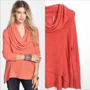 Free People Cowl Neck Knit Hi Lo Sweater Small